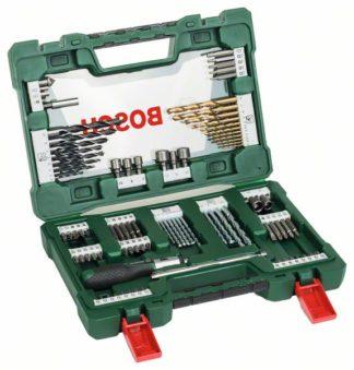 BOSCH 91-dijelni V-Line TiN set svrdla i bitova s izvijačem čegrtaljkom i magnetskim štapom