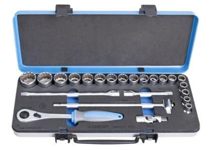 UNIOR set nasadnih dvanaesterokutnih ključeva i pribora 1/2″ u metalnoj kutiji 10-32/23