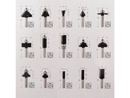 BOSCH 15-dijelni set mješovitih glodala 6 mm prihvat