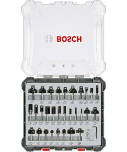 BOSCH 30-dijelni set mješovitih glodala 8 mm prihvat