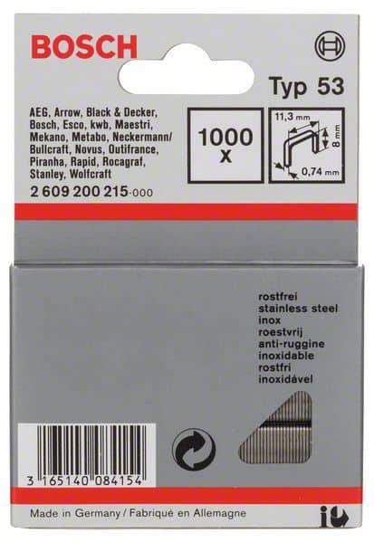 BOSCH set spajalica 11,4×8 mm, 1000 kom, nehrđajuća, tip 53
