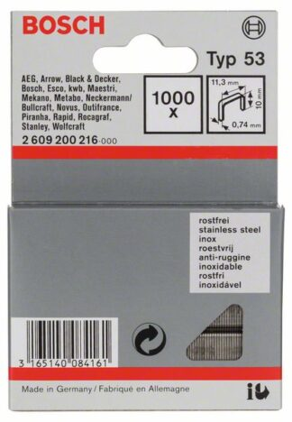 BOSCH set spajalica 11,4×10 mm, 1000 kom, nehrđajuća, tip 53