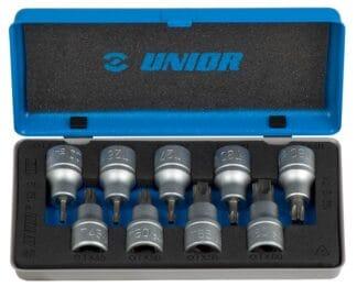UNIOR set nasadnih ključeva 1/2″ s TX profilom u metalnoj kutiji TX20 – TX60